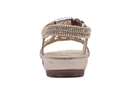 zapatos planos de las sandalias casuales de diamantes de cuentas grandes patios Gold