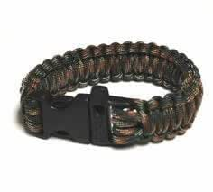 """Forest Camo 9"""" / 23CM Survival Paracord Bracelet with Buckle Whistle - 550 Military Spec Para-Cord Outdoor Rope"""