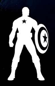 Captain America Decal Vinyl Sticker|Cars Trucks Vans Walls Laptop|WHITE|5.5 in|CCI362