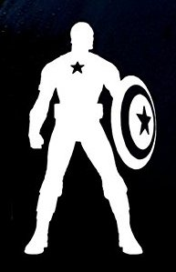 Ego Party Costume Alter Ideas (Captain America Decal Vinyl Sticker|Cars Trucks Vans Walls Laptop|WHITE|5.5)