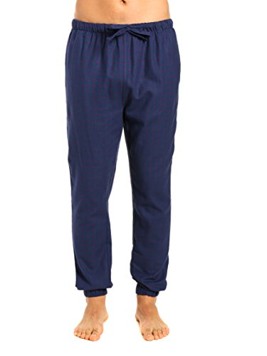 Elastic Cuff Pants (Men's Premium Flannel Jogger Lounge Pants - Checks - Dark Blue - Large)