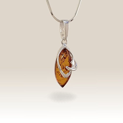 Beautiful stone Amber Pendant Necklace, Sterling Silver,Amber Jewellery, Real Amber Jewelry, Gift Jewelry, Bernstein, Free jewelry (Beautiful Baltic Amber Pendant)