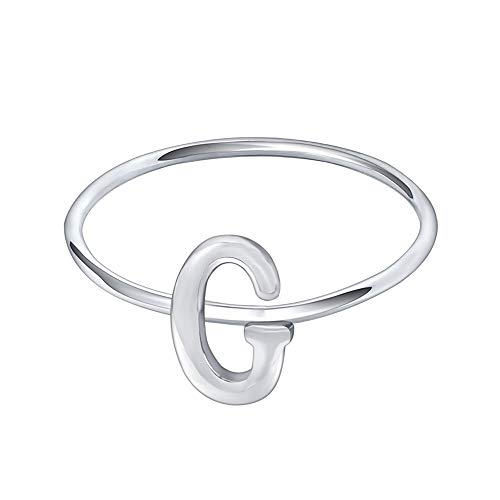 (AoedeJ 925 Sterling Silver Stackable Initial Letter Rings Capital Letter Ring Charm Initial Band for Women (G, 9))