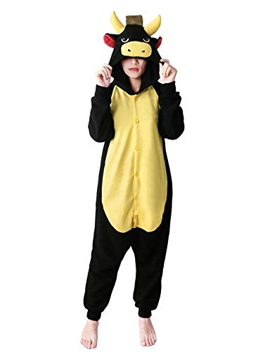 FORLADY Unisex Adult Cosplay Costumes Jumpsuit Animal Bull Pajamas Black