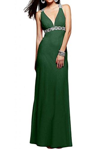 Elegante V-cuello de la Toscana de novia de gasa Rueckenfrei por la noche de fiesta bola a largo Prom vestidos Dunkel Gruen