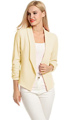 Womens Casual Work Office Open Front Cardigan Blazer Jacket (XL, Beige)