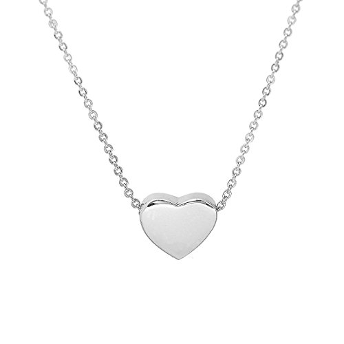 Heart Girls Necklace (KUIYAI Tiny Heart Necklace Simple Charm Pendant Bridemaid Gift for Women (Silver))
