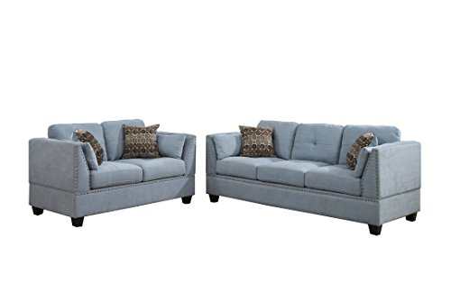 Poundex F6918 Bobkona Zenda Velvet 2 Piece Sofa and Loveseat Set, Hydra Blue