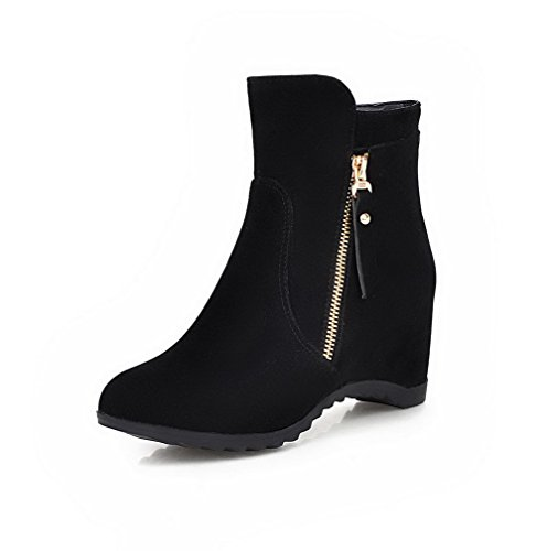Zipper Nero heels Boots Suede top Low Agoolar Imitated Solid Women's Kitten aw5AnqPvF