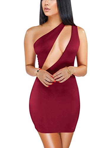 (Women Cut Out One Shoulder Bodycon Mini Party Club Dress Wine Red S)