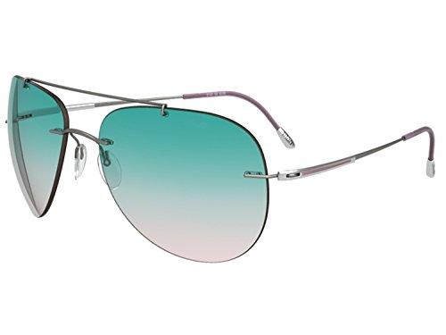 Silhouette Aviator Sunglasses Adventurer (small aviator matte gunmetal / green rose gradient, one - Silhouette Sunglasses