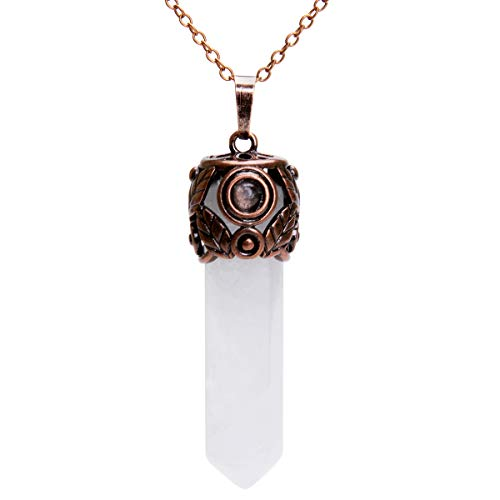 Bivei Retro Antique Brass Chakra Necklace Hexagonal Prism Gemstone Quartz Crystal Stone Healing Pendant(Rock Quartz Crystal)