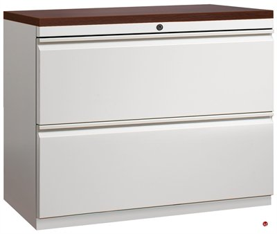 2 Drawer Trace Lateral File Cabinet, 36u0026quot;W With Laminate Wood Top
