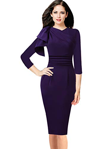 (VFSHOW Womens Celebrity Elegant Ruffle Ruched Cocktail Party Bodycon Dress 1056 PUP XS)