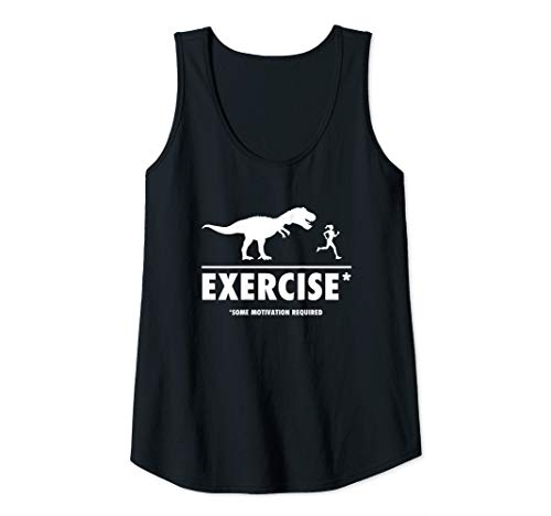 (Womens Funny T Rex exercise motivation required tank top shirt Tank Top)