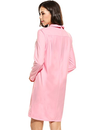 ... Meaneor Damen Blusenkleid Hemdkleid Langes Hemd Lang Ärmel Kleid Casual  Volltonfarbe Shirt Abendkleid CocktailParty Urlaub Freizeit ... 7e328828bf