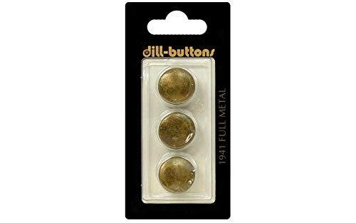 Dill Buttons 15mm 3pc Shank Metal Antique Brass