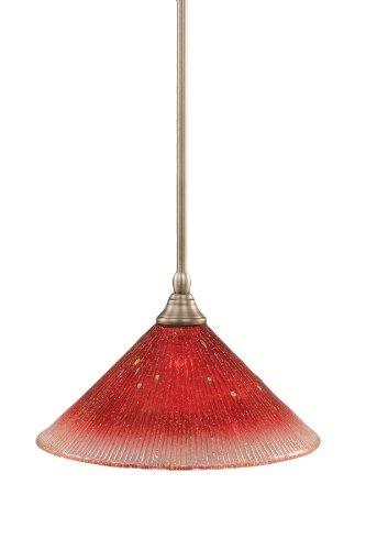 Toltec Lighting 23-BN-706 Stem Mini-Pendant Light Brushed Nickel Finish with Raspberry Crystal Glass, (Brushed Nickel Mini Pendant Stem)