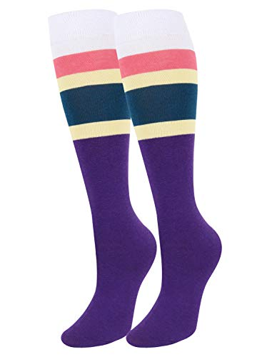 (Girls Women Vintage Contrast Color Striped Knee High Socks Warm Cotton Over Calve Fun Party Custume Cosplay)