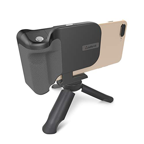 Adonit Photogrip Qi, Bluetooth Camera Shutter Remote + Wireless Charger +Tripod + Smartphone Grip, for iPhone, Samsung, Sony, All Qi-Enabled Phones -Black
