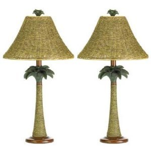 Painted Rattan Table (1 Pair 2 Palm Tree Rattan Table Living Room Lamp Lighting Lights)
