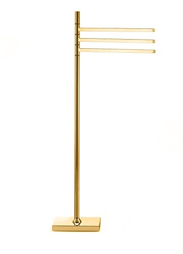 DWBA Standing Towel Rack Stand Bar Towel Holder 3-tier Movable Triple Bar Holder (Polished Gold)