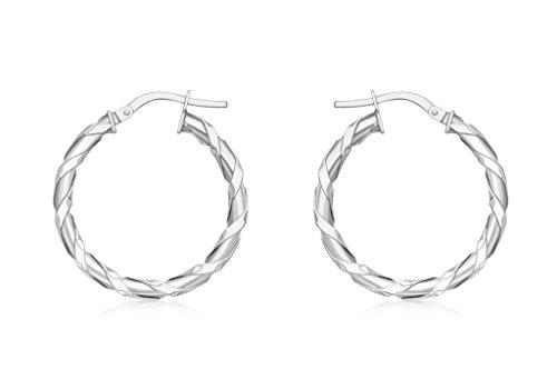 Boucles d'oreilles créoles 25mm Twist or blanc 9carats