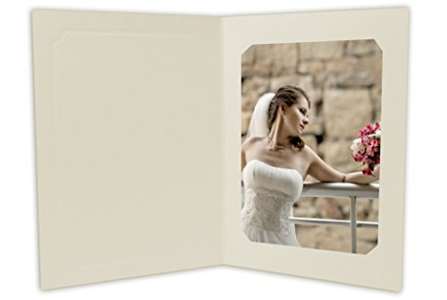 Golden State Art, Cardboard Photo Folder for 5x7/4x6 (Pack of 50) Cut Corners GS010-S Ivory Color
