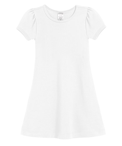 City Threads Girls' Short Sleeve A-Line Puff Sleeve Party Dress for Sensitive Skin/SPD/Sensory Friendly for School Or Play Fall Spring Summer, White, 5 -