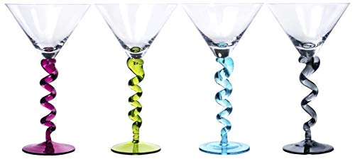 (Unique Handcrafted Martini Glasses with Multicolored Twisted Stems, Set of 4-8 Oz)
