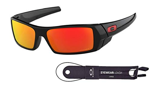 Oakley Gascan OO9014 901444 60M Polished Black/Prizm Ruby Sunglasses For Men +BUNDLE with Oakley Accessory Leash Kit (Sunglasses Oakley Orange)