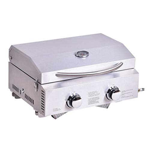 Galapagoz Portable Stainless Steel BBQ Barbecue Table Top Propane Gas Grill Outdoor Garden Camp BBQ Party 2 Burner US