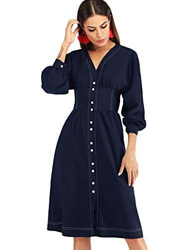 Milumia Women's Casual Fit and Flare Long Sleeve Solid Button Down Dress Navy L (Dress Bishop Birthday)