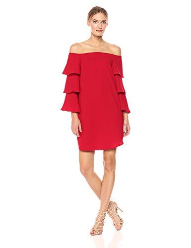 Nanette Nanette Lepore Women's Long Shoulder Shift Dress W/Tiered Bell Sleeve, Red Riding Hood, 6 ()