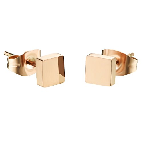 D.B.MOOD Square Stud Earrings Rose Gold Plated Stainless Steel Earring for Women Rose gold (Gold Casual Earrings)