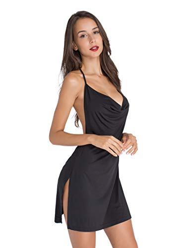 - Lomantise High Slit-Club-Cress Halter Backless Sexy-Curvy-Dress Assless US 8/10 Black