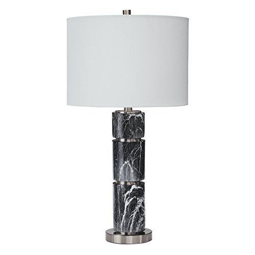 Ashley Furniture Signature Design - Maricela Poly Table Lamps - Set of 2 - Faux Marble - Black & White ()