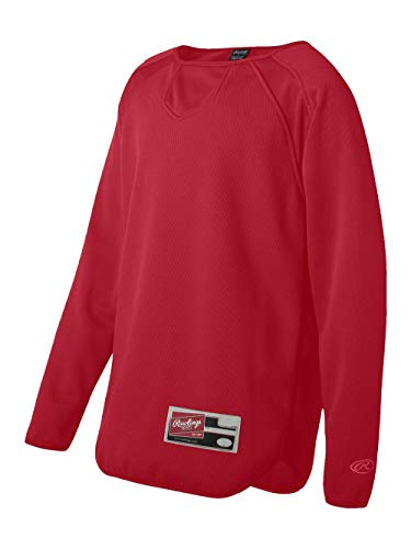 Rawlings Youth Long Sleeve Flatback Mesh Fleece Pullover, Red, Medium