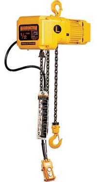 Harrington NER Single Speed Electric Chain Hoist, Three Phase, Hook Mount, 2 Ton Capacity, 10' Lift, 14 fpm Max Lift Speed, 2.4 HP, 22.6