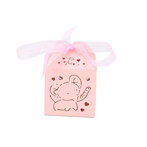 50pcs Elephant Laser Cut Carriage Gifts Boxes Girls and Boys 1st Birthday Candy Buffet Elephant Baby Shower Wedding Party Bomboniere Favor Boxes ()