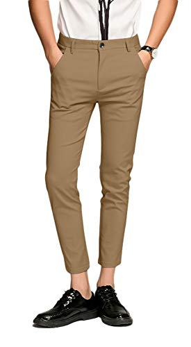 Plaid&Plain Men's Slim Fit Dress Pants Cropped Skinny Dress Pants 7603Khaki 36X34