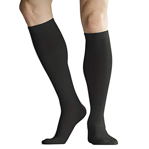 +MD 6 Pairs Microfiber Compression Socks (8-15mmHg) for Women & Men - Knee High Socks for Running, Athletic, Nurses, Travels, Edema, Anti-DVT, Varicose Veins 6Black 9-11