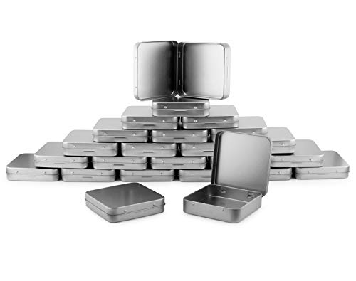 Square Metal Hinged Tins (24-Pack); Silver Boxes for Mints, Candies, Favors, Geocaching & More Weight, 3.5 x 3.5 x .75 Inches -