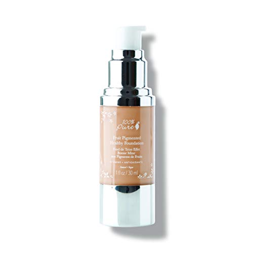 100% PURE Fruit Pigmented Healthy Foundation, Peach Bisque, Liquid Foundation Makeup, Anti-aging, Full Coverage, Matte Finish - 1 Fl Oz