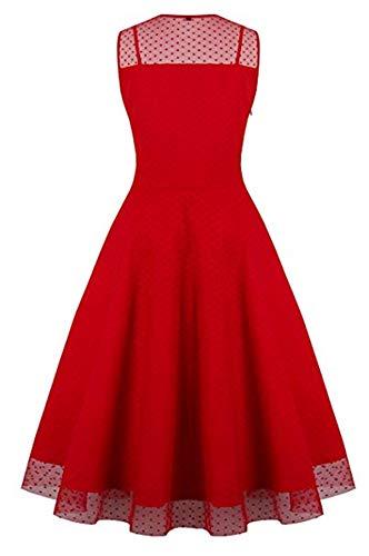 Vestido Ceremonia y Vestido Mujer Vestido Corto Sin Cóctel con de Boda y Redondo Madrina Rojo para de Lazo Cuello Fiesta Eventos de Fietsa V Manga w4BY14