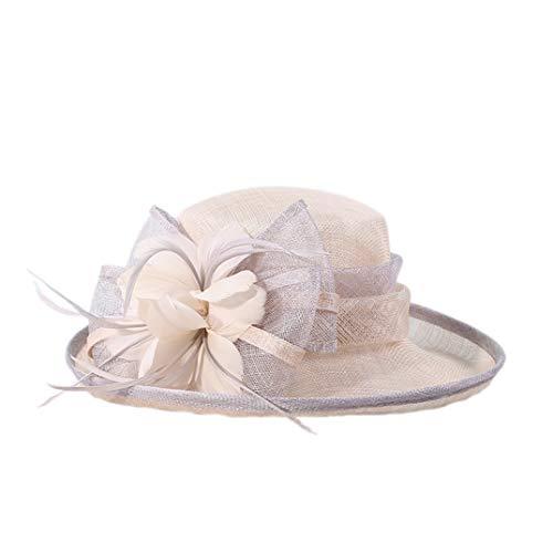 KRASTAL Women Spring and Summer Elegant Hemp Hats British Banquet Hat Church Derby Party Caps Grey