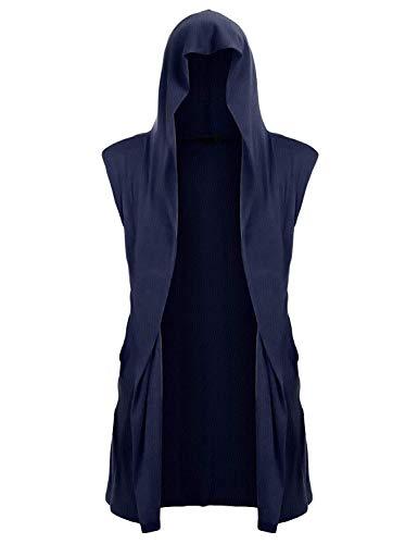 UUANG Mens Sleeveless Ruffle Shawl Collar Cardigan with Pockets Navy Blue,S]()
