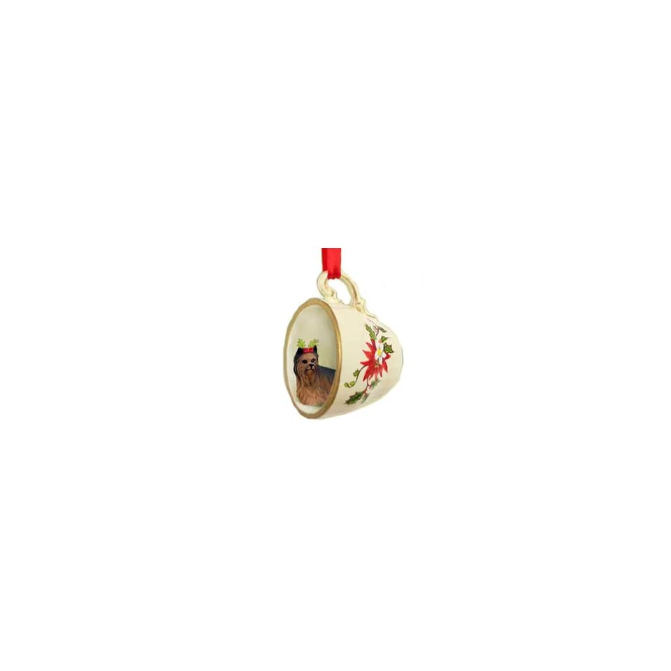 Yorkie Yorkshire Terrier Dog in Tea Cup Holiday Christmas Ornament