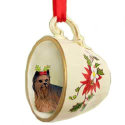 Yorkie Yorkshire Terrier Dog in Tea Cup Holiday Christmas - Ornament Teacup Christmas Terrier