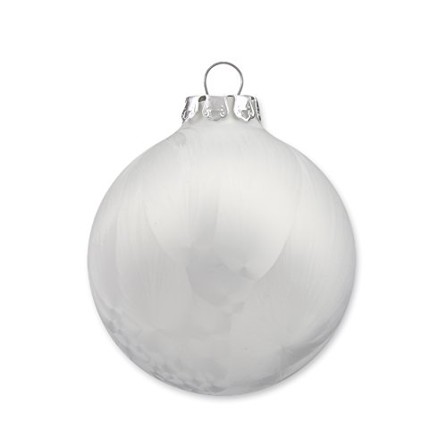 Christmas Ornaments, Christmas Balls, Glass, Handmade, Ice White Collection,18 pc Set, 6x8cm (3.15), 6x7cm (2.75), 6x6cm (2.35), Made in